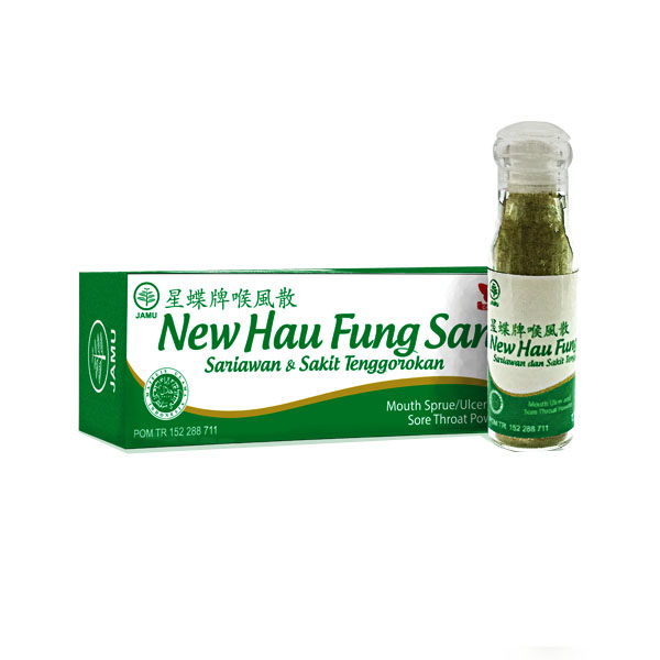 Obat Herbal Serbuk Sakit Sariawan Tenggorokan Luka Luar New Hau Fung San Cap Kupu-Kupu Gloherbal Bintang Kupu Kupu